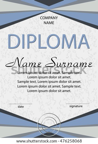 Purple diploma certificate winning competition reward stock vector diploma certificate gray and blue winning the competition reward award winner yelopaper Choice Image