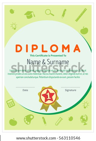 Diploma certificate layout template school preschool stock vector diploma certificate layout template for school preschool kindergarten background design vector illustration yadclub Gallery