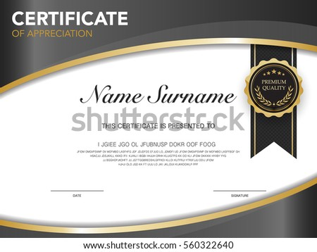 Premium Modern Certificate Appreciation Template Design Stock