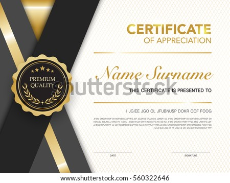 Diploma Certificate Template Black And Gold Color With Luxury And Modern  Style Vector Image.  Formal Certificate Template