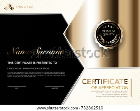 Diploma certificate template black gold color stock vector diploma certificate template black and gold color with luxury and modern style vector image yelopaper Choice Image