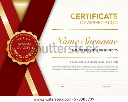 Diploma certificate template red gold color diploma certificate template red and gold color with luxury and modern style vector image yelopaper Gallery