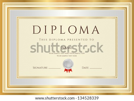 Diploma certificate template guilloche pattern silver stock vector diploma certificate template with guilloche pattern silver and gold border background design usable yelopaper Image collections
