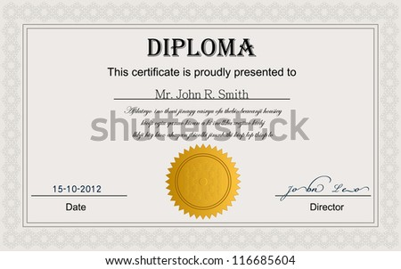 Diploma Certificate With Detailed Design.