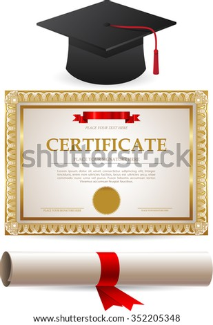 Diploma gold certificate and graduation cap isolated on white background - stock vector