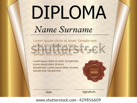Diploma Or Certificate Template. Award Winner. Winning The Competition.  Reward. Gold Curled  Award Paper Template