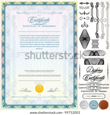 Diploma certificate template customizable design elements stock diploma or certificate template customizable design elements titles and patterns yelopaper Choice Image