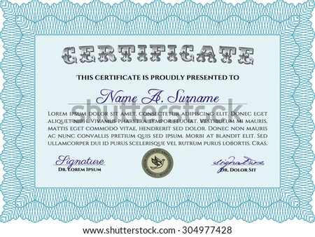 Diploma or certificate template. With complex linear background. Retro design. Vector certificate template.