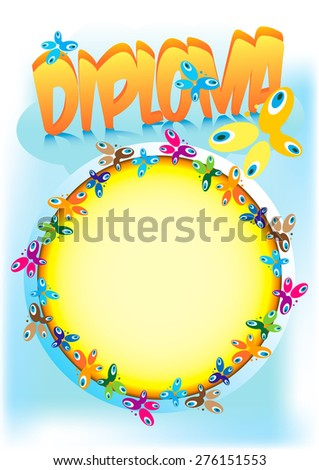 Diploma or frame for kids, girls, boys, women, grandmothers with a motif of flowers and butterflies for the awards, acknowledgments and rewards that can be used as a label, business card, album cover.