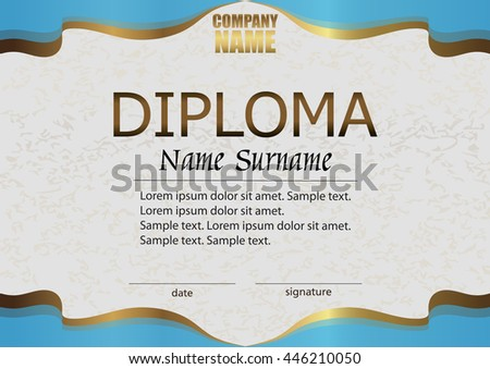 Diploma. Reward. Winning the competition. Award winner. Horizontal blue with gold template. The text on separate layer. Vector illustration. - stock vector