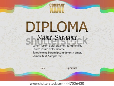 Diploma. Reward. Winning the competition. Award winner. Horizontal bright color template. The text on separate layer. Vector illustration. - stock vector