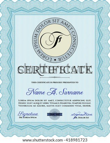 Diploma template. Border, frame. Excellent design. With background. Light blue color.
