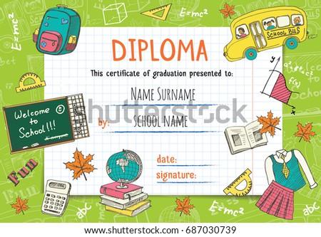 Diploma template kids certificate background hand stock vector diploma template for kids certificate background with hand drawn school elements for kindergarten school yadclub Gallery