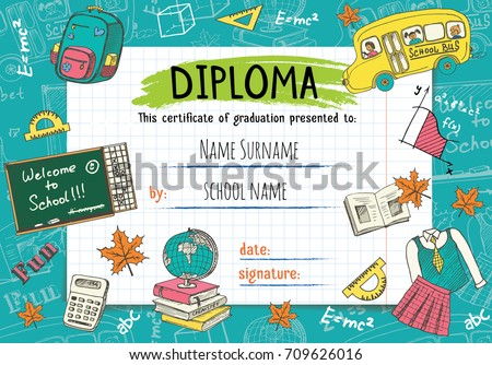 diploma template kids certificate background handのベクター画像素材