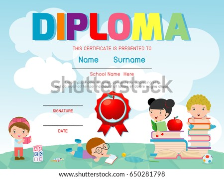 Certificate kids diploma kindergarten template layout stock vector diploma template for kids certificates kindergarten and elementary certificate of children diploma vector yadclub Images