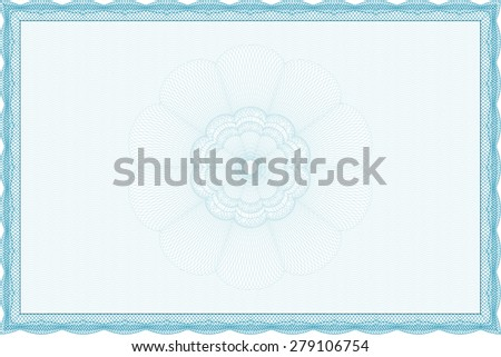 Diploma template or certificate template. Cordial design. Money style.With background.  - stock vector