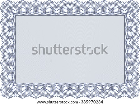 Diploma template or certificate template. Vector pattern that is used in money and certificate. With quality background. Beauty design. Blue color. - stock vector