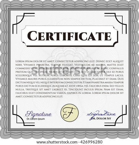 Awesome Certificate Template Great Quality Guilloche Vector – Money Certificate Template