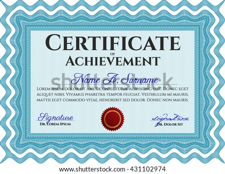 Diploma template or certificate template. Vector pattern that is used in money and certificate. With quality background. Artistry design. Light blue color.