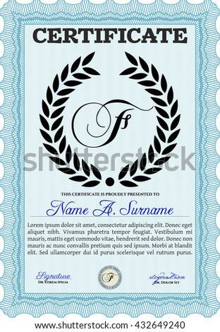 certificate diploma template detailed complex background stock  diploma template vector illustration complex background excellent design light blue color
