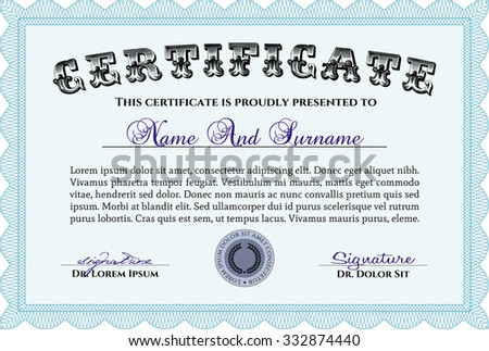 Diploma. Vector pattern that is used in money and certificate.Artistry design. With linear background.  - stock vector