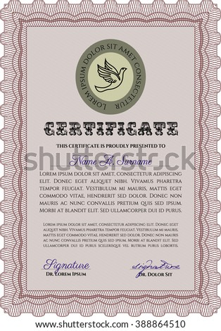 Diploma. With background. Border, frame. Good design. Red color.
