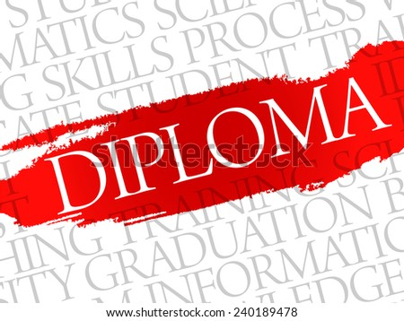 DIPLOMA. Word education collage on gray vector background - stock vector
