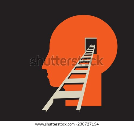 direct access to human mind, brain backdoor - stock vector
