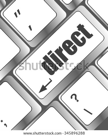 direct - educational concept. Button on Modern Computer Keyboard vector illustration - stock vector
