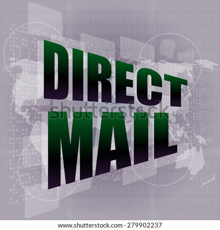 direct mail word on digital touch screen vector