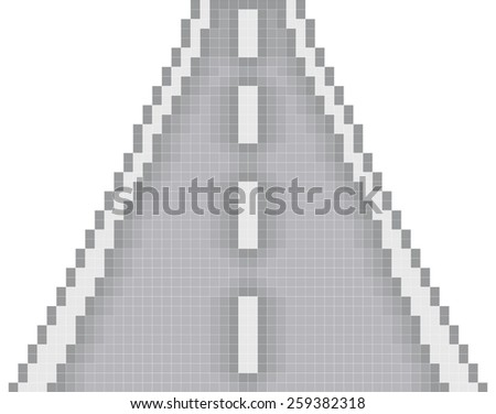 direct road pixel art - stock vector