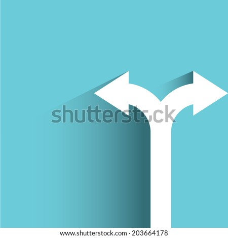 direction arrow sign, decision making concept, blue background, flat and shadow theme - stock vector