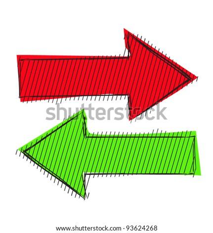 Direction arrows doodle color sketch illustration - stock vector