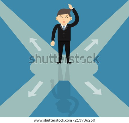 direction choice , Confused, Standing at the crossroad - stock vector