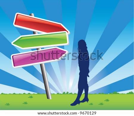 direction choice - vector - stock vector