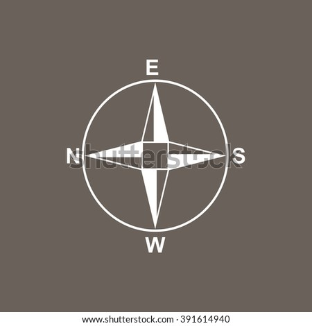 Direction Compass Icon on Dark Gray Color. Eps-10.