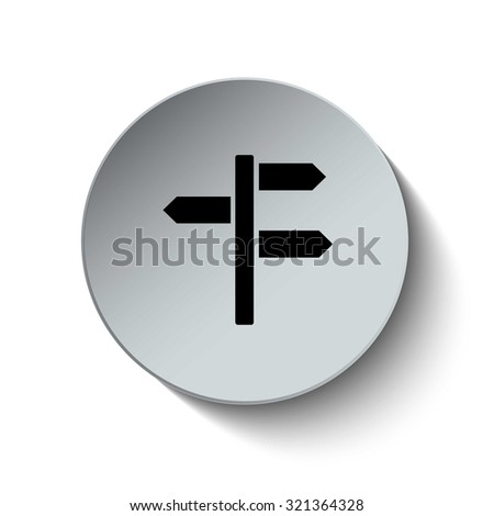 Direction icon. Direction sign. Rounded button. Vector Illustration. EPS10 - stock vector