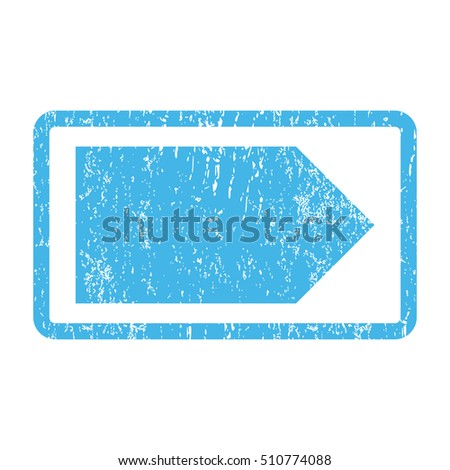 Direction Right rubber seal stamp watermark. Vector icon symbol inside rounded rectangular frame with grunge design and scratched texture. Scratched blue ink sign print on a white background.
