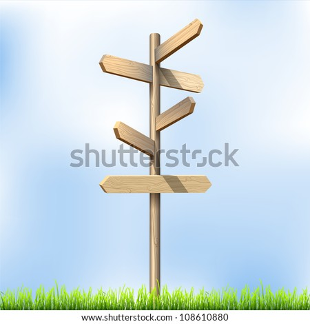 Direction road wooden signs. Vector illustration - stock vector
