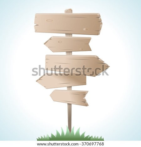 Direction road wooden signs. Vector illustration. - stock vector