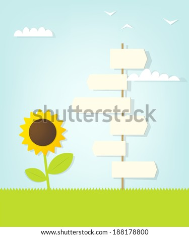 direction sign and sunflower - stock vector