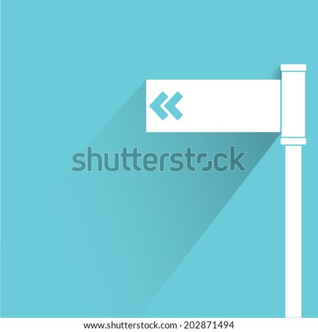direction sign, blue shadow and flat theme