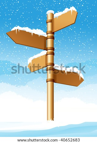 Direction sign in winter forest, vector illustration, EPS file included