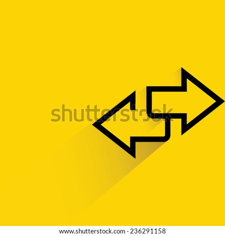 direction sign, inverse arrows on yellow background, flat and shadow theme - stock vector