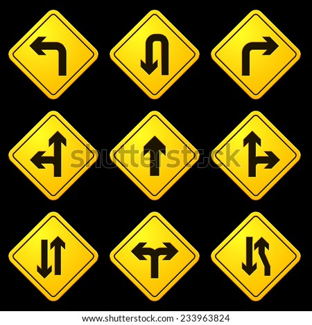 Directional Arrows Yellow Signs - stock vector