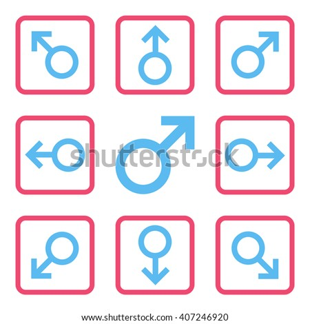 Directions vector bicolor icon. Image style is a flat icon symbol inside a square rounded frame, pink and blue colors, white background. - stock vector