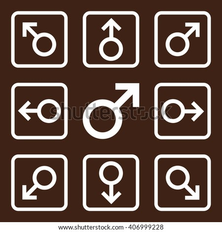 Directions vector icon. Image style is a flat icon symbol inside a square rounded frame, white color, brown background. - stock vector