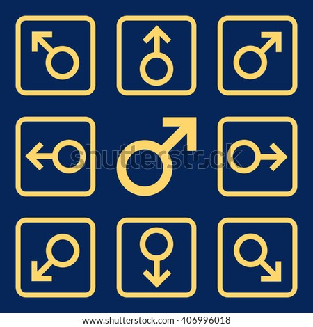Directions vector icon. Image style is a flat icon symbol inside a square rounded frame, yellow color, blue background. - stock vector
