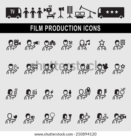 Director Making Filming Movie Production  Pictogram Icon - stock vector