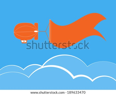 Dirigible flying and banner for text over cloud and blue sky,vector illustration - stock vector